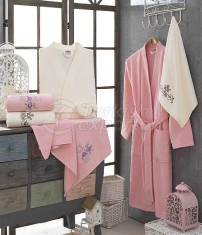 Smart Cotton Bathrobe Set - Pink Cream (8698499308275)
