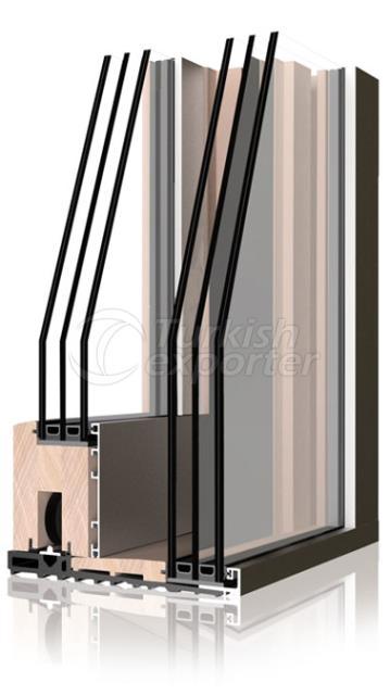 Sistemas de ventanas y puertas de aluminio de madera -Hbsb
