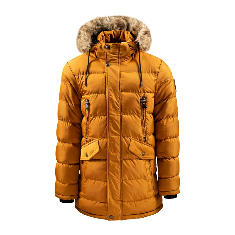 Men's Long Hooded Jacket with Fur