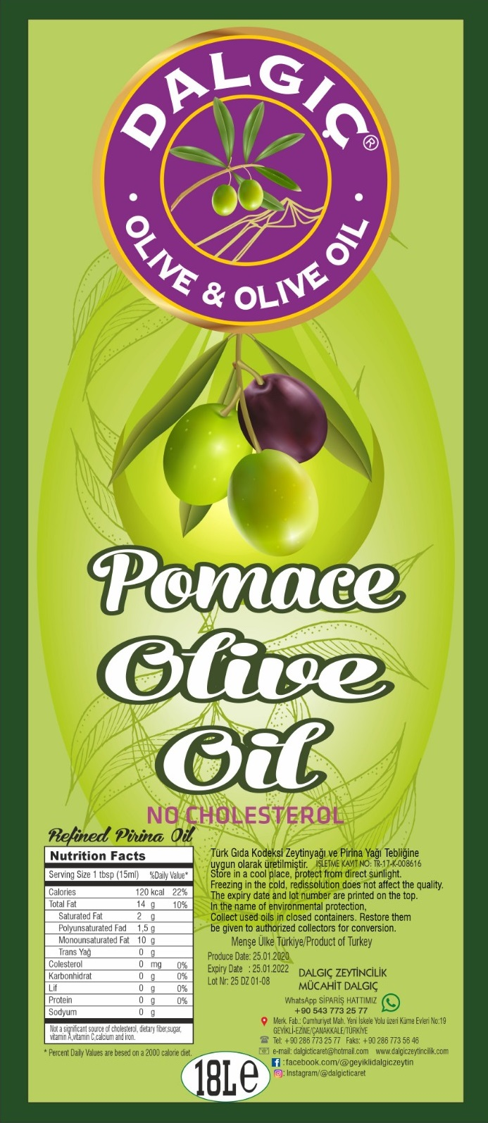Pomace Olive Oil-18 lt Tin