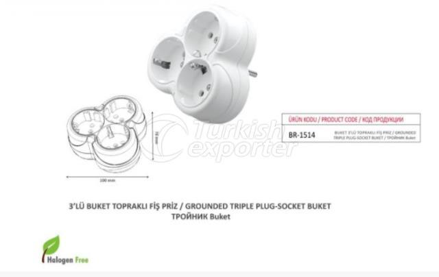 Grounded Triple Plug-Socket Buket