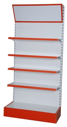 Supermarket Shelves Outer Corner Wall Unit With Canopy