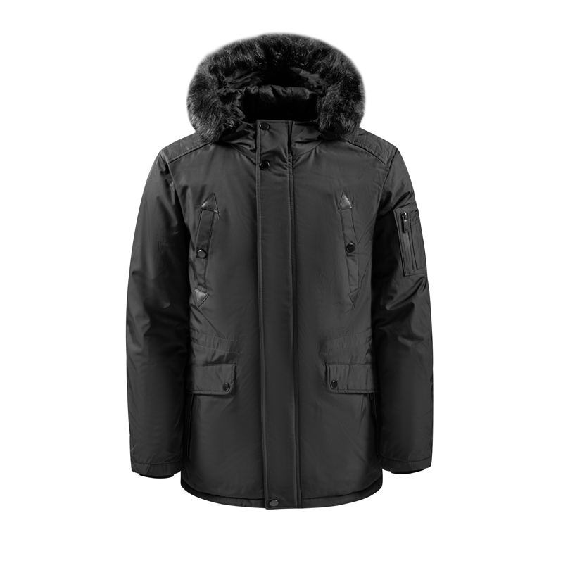 Men's Outer Long Hooded Jacket with Fur
