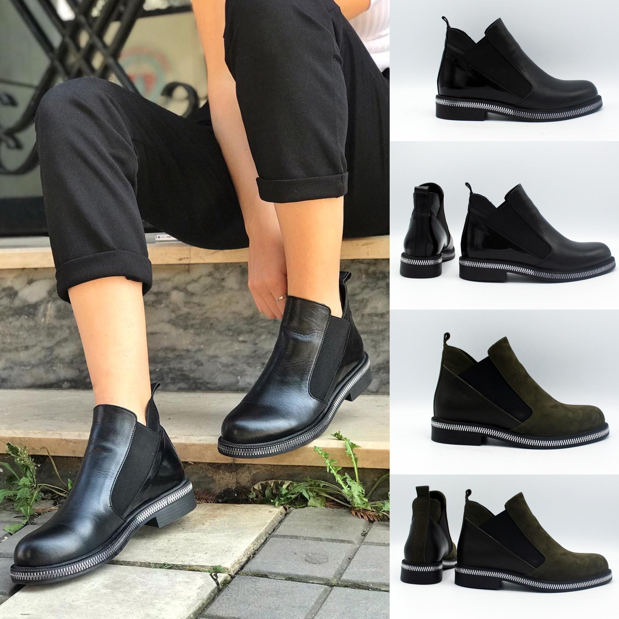 Women Flat Leather Boots Trend Footwear