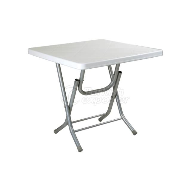 TABLE WITH METAL FEET