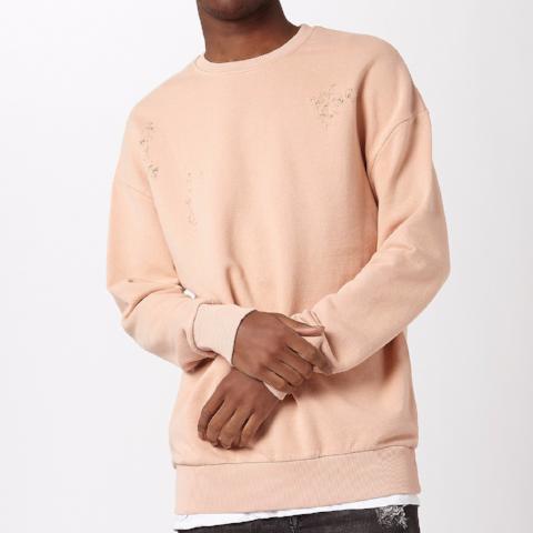 Sweatshirt with Distressing – Pink