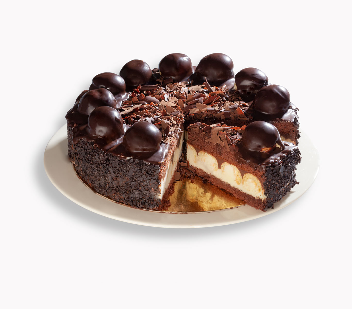 Bitter Chocolate Profiterole Cake